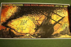 Avett Brother Signed Concert Poster Koka Booth