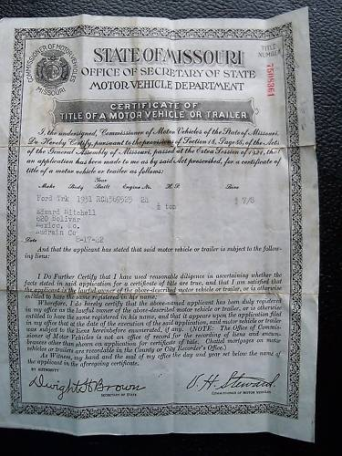 State College Ford >> 1931 Ford Truck Missouri Motor Vehicle Title