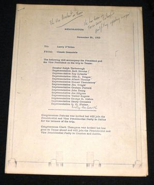 JFK Assassination Document from Dallas Trip 11-22-63