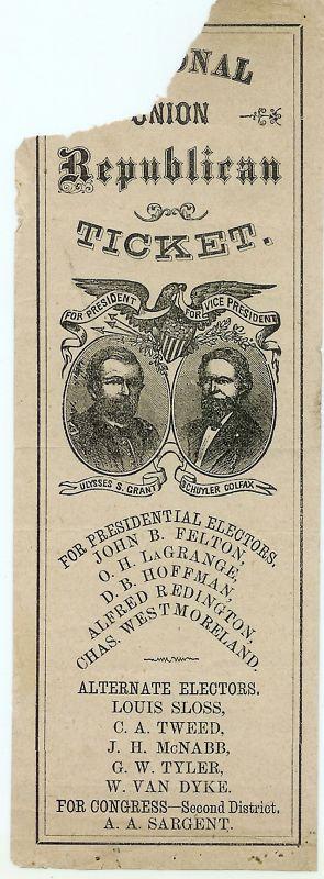 1868 Presidential U.S. Grant GOP Electoral Ticket