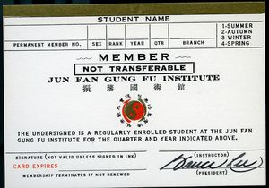 Bruce Lee Signed Jun Fan Gung Fu Institute Card