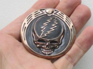 Owsley Stanley Grateful Dead Inscribed Bronze Belt Buckle