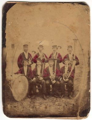 Tuba Brass Section Musicians 19th Century Band Photograph