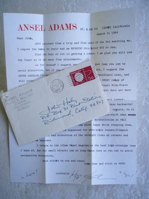 Signed Ansel Adams Letter