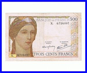 France 300 Francs Bank Note #87 1938