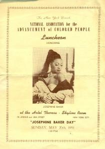 Josephine Baker NAACP 1951 Luncheon Menu