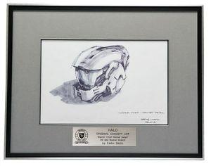 Bungie Original Halo Concept Art Master Chief Helmet