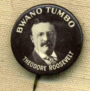 Theodore Roosevelt Bwano Tumbo Celluloid Button Pinback