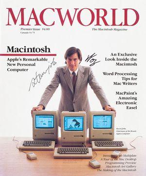 Steve Jobs and Steve Wozniak Autograph Cover of Macworld Magazine