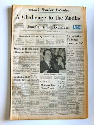 Zodiac Killer SF Examiner Newspaper
