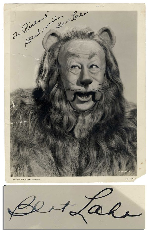 bert lahr signed photo as the lion in wizard of oz. Black Bedroom Furniture Sets. Home Design Ideas