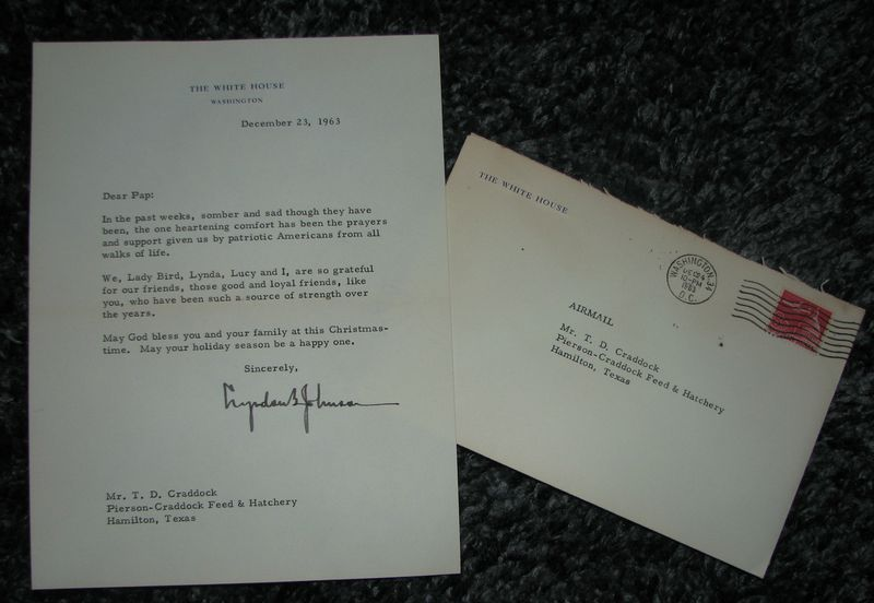 JFK Assassination Johnson Letter Signed