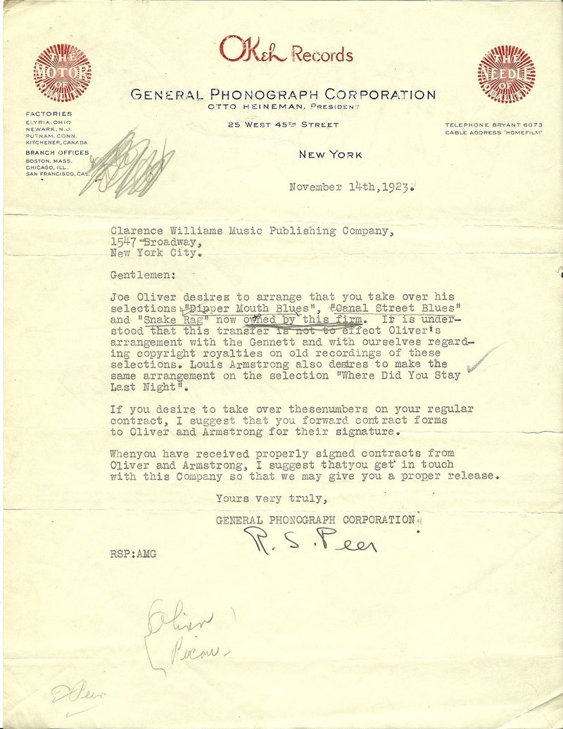 Louis Armstrong Okeh Records Letter