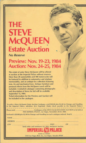 Steve McQueen Auction Flyer
