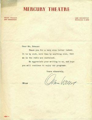 Orson Wells Signed Letter