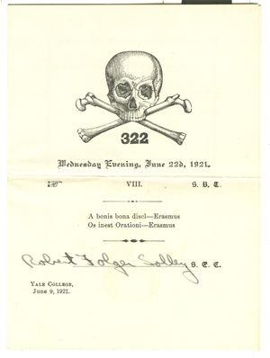 Skull and Bones Invitation Yale