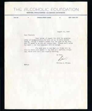 AA Letter William Wilson