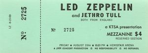 Led Zeppelin Concert Ticket 1969