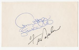 Annette Funicello and Frankie Avalon Signed Card