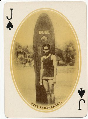 Hawaiian Surfing Card Duke Kahanamoku