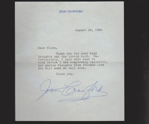 Joan Crawford Signed Letter